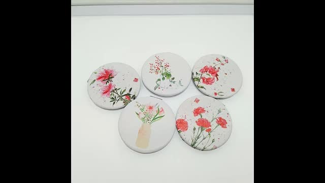 Dongguan factory custom round double sided flower pattern plastic frame pocket mirror for lady gift