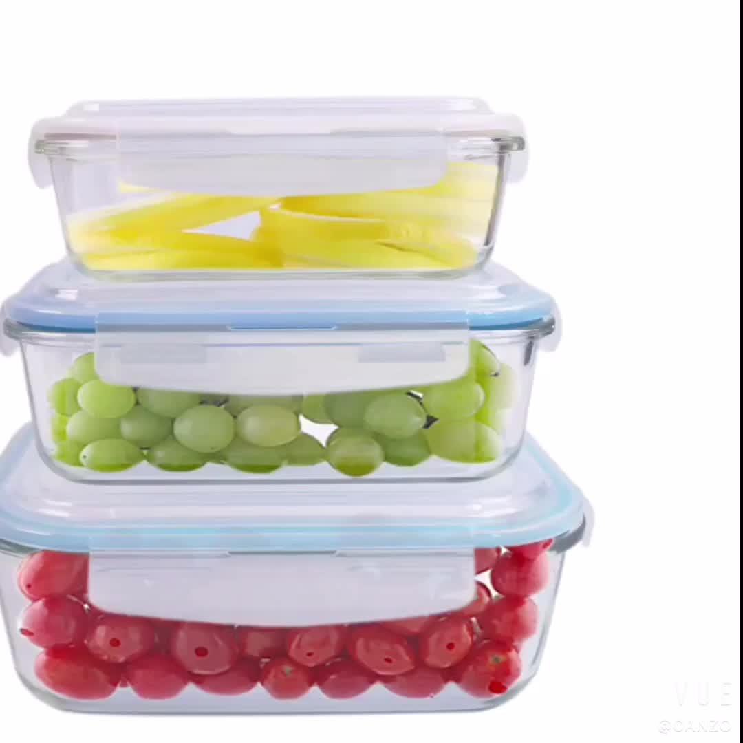 Borosilicate Bữa Ăn Chuẩn Bị Lưu Trữ Thực Phẩm Container Hộp Ăn Trưa Thủy Tinh