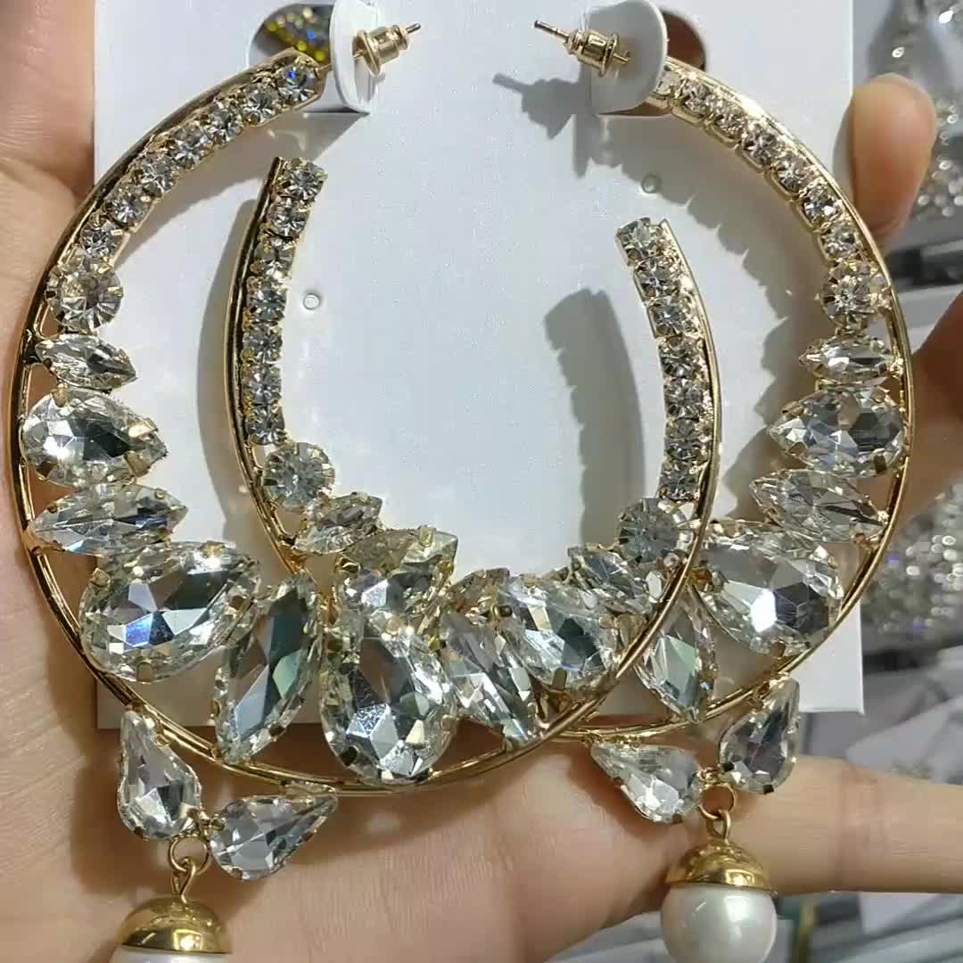 2019 Boho Jewelry Exaggerated Alloy Big C Shape Crescent Shape Gold Plated Clear Crystal Earring
