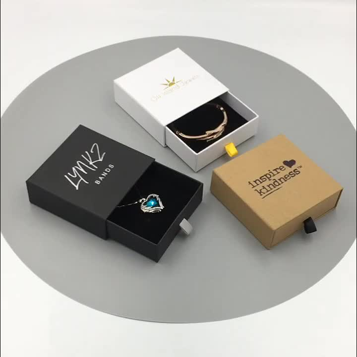 High Quality Black Custom LOGO Jewelry Gift Paper Sliding Drawer Cardboard Box