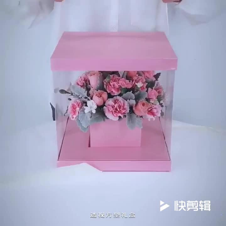 De lujo de encargo de redondo cuadrado transparente de la ventana transparente de la caja de regalo