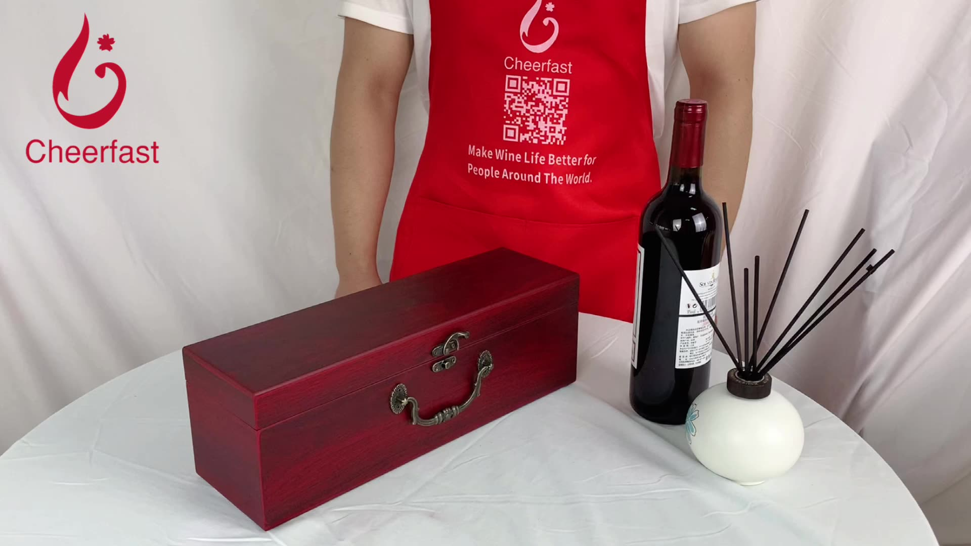 Private Label Accept Red MDF Single Bottle Wooden Wine Boxes For Sale