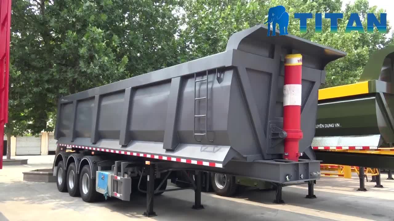 Titan 40 tons 3 axles hydraulic side tipper 12 tires dump truck trailer for sale