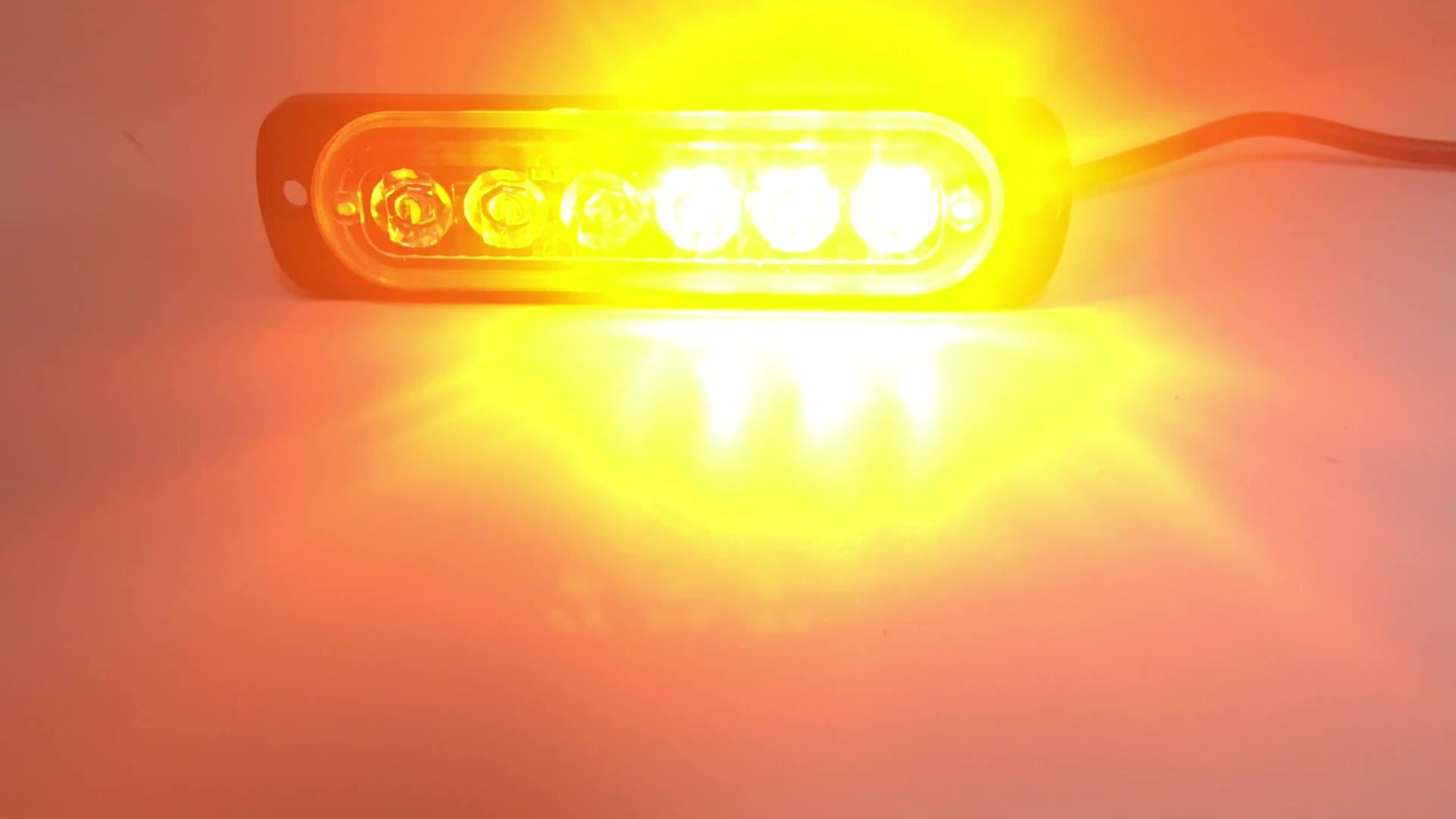 Đèn Cảnh Báo An Toàn 12V 24V Đèn Gắn Trên Bề Mặt 6LED Siêu Mỏng Đèn LED Nhấp Nháy Mini Cho Xe Tải