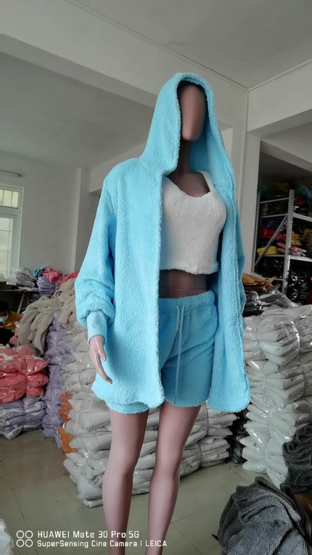 Phụ Nữ Bán Buôn Sang Trọng 3 Mảnh Tracksuit Giản Dị Đồ Ngủ Dài Tay Áo Cardigan Vest Phụ Nữ Quần Ngắn Bên Áo Len Bộ