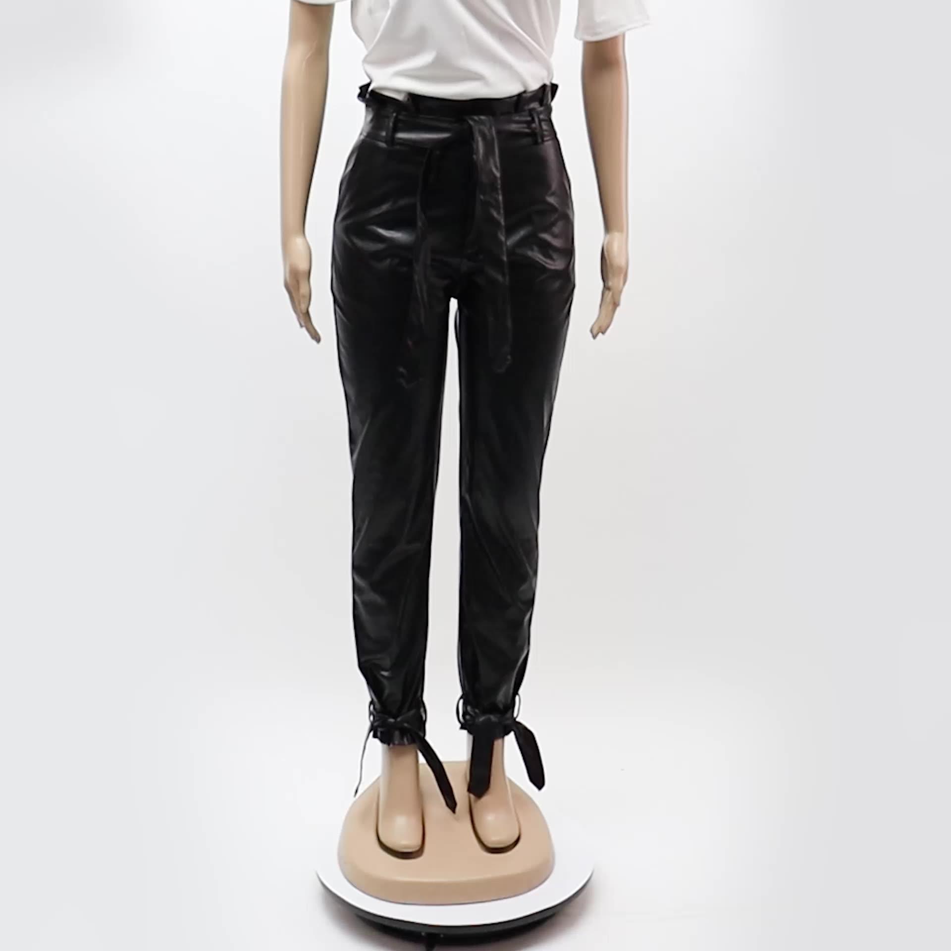กางเกงหนังกางเกงลำลองผู้หญิง,กางเกงหนังPUมีสายคาดเอวสูงแฟชั่นขายดี