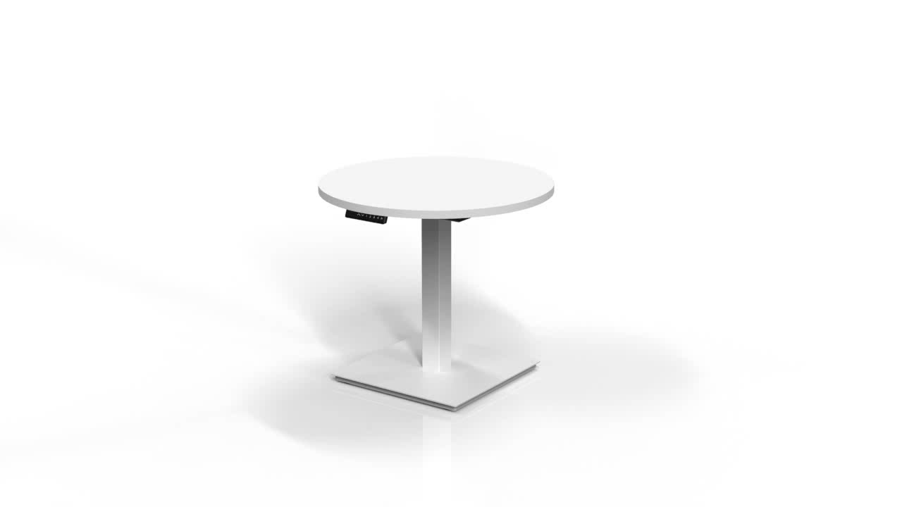 White One Leg Height Adjustable Coffee Table Frame with Timotion Motor