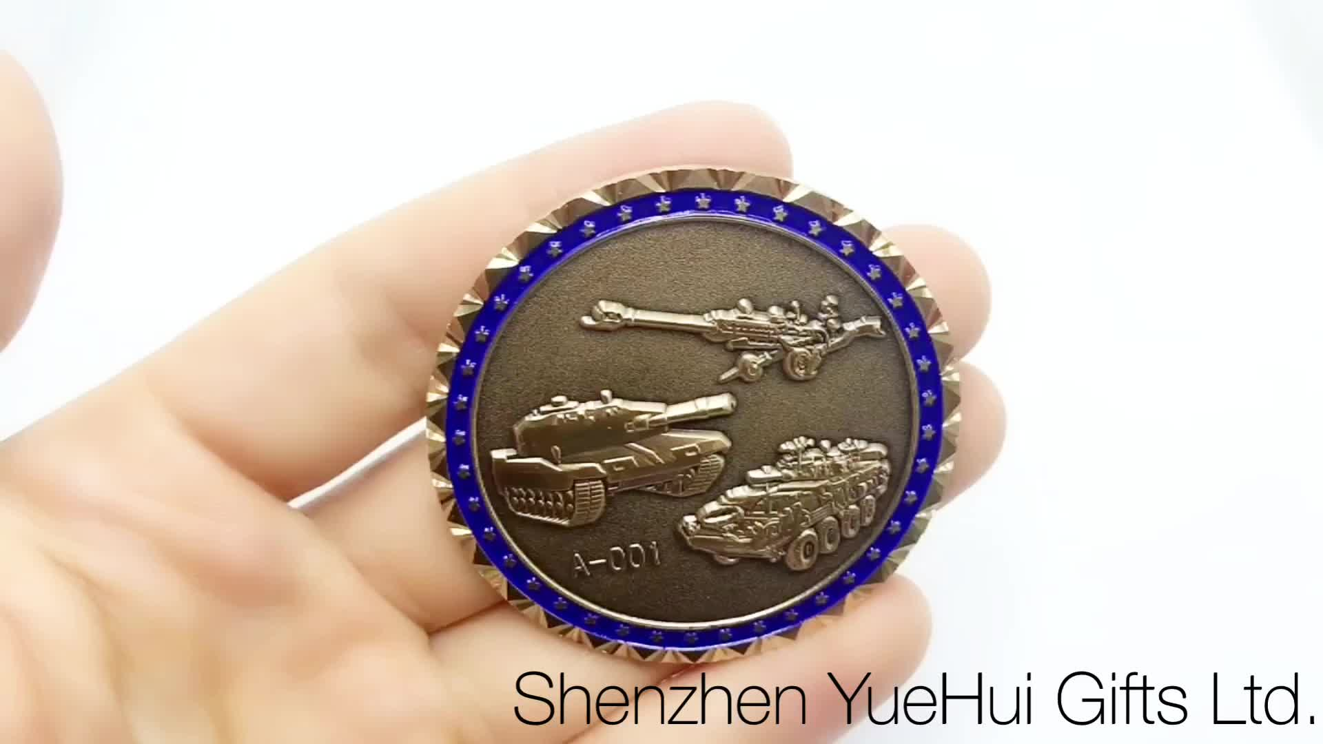 Custom copper souvenir force group challenged coin with engraving