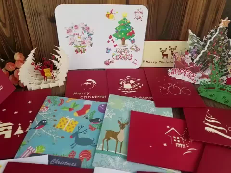 Custom Printed Laser Cut Christmas House 3D Pop up Christmas Cards for Greeting with Envelopes