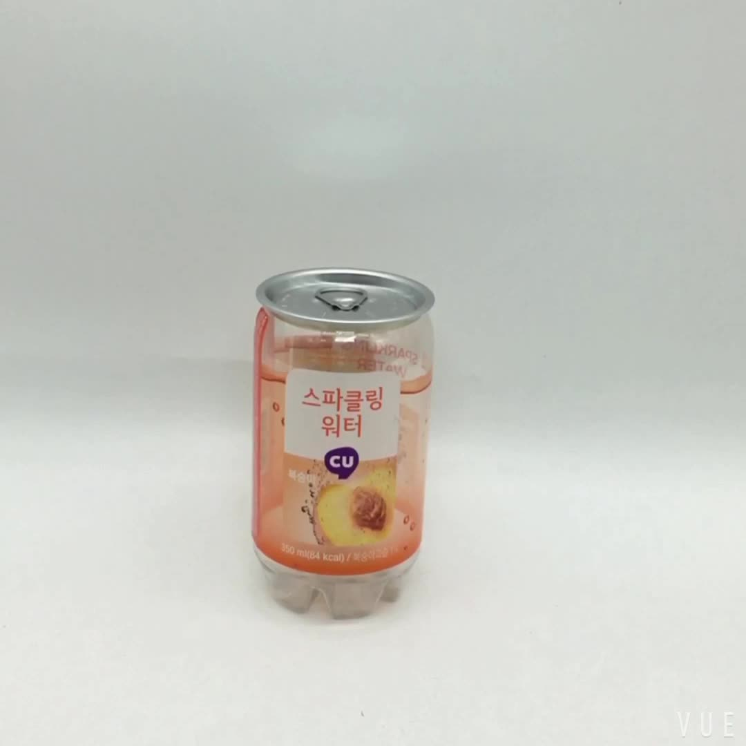 350ml  PET Transparent Soft Drink Can Empty Plastic Clear Soda Beverage Can with Easy Open Lid