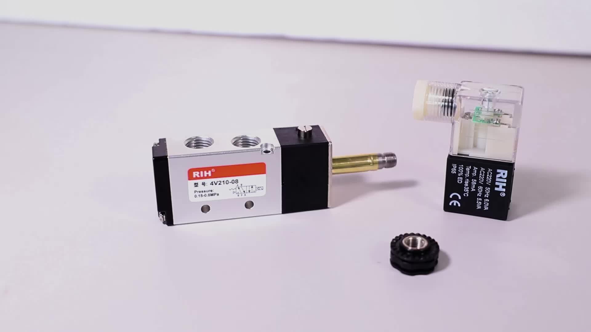 2/5 yollu hava kompresörü DC24V AC220V AC110V DC12V kablolama Solenoid valfı pnömatik silindir parçaları Airtac 4v210-08