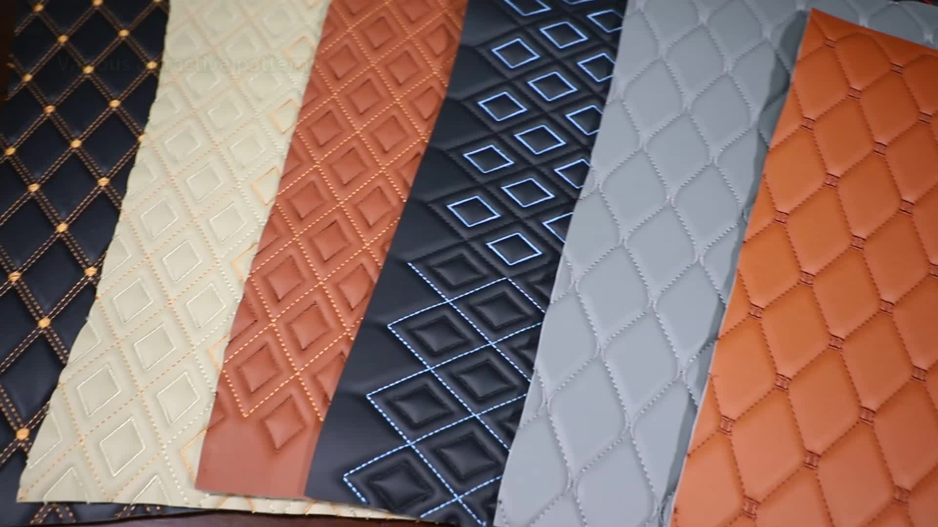 PVC Car Interior Nonwoven Check Faux Synthetic Leather