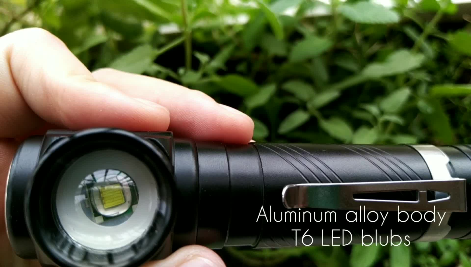 Aluminium Alloy Usb Isi Ulang Magnetic Base T6 Lampu Kerja LED Torch