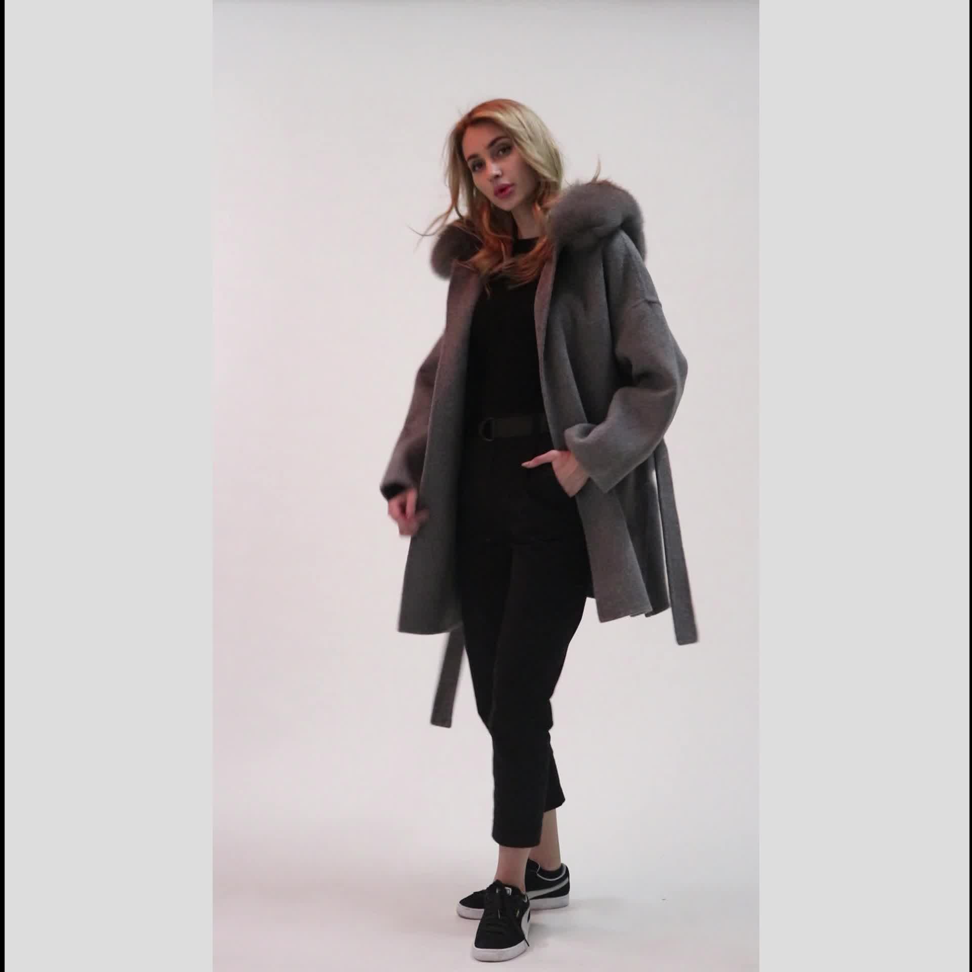 Kadınlar bayanlar kaşmir ceket gerçek tilki kürk yaka kaşmir ceket çift yüz kaşmir ceket