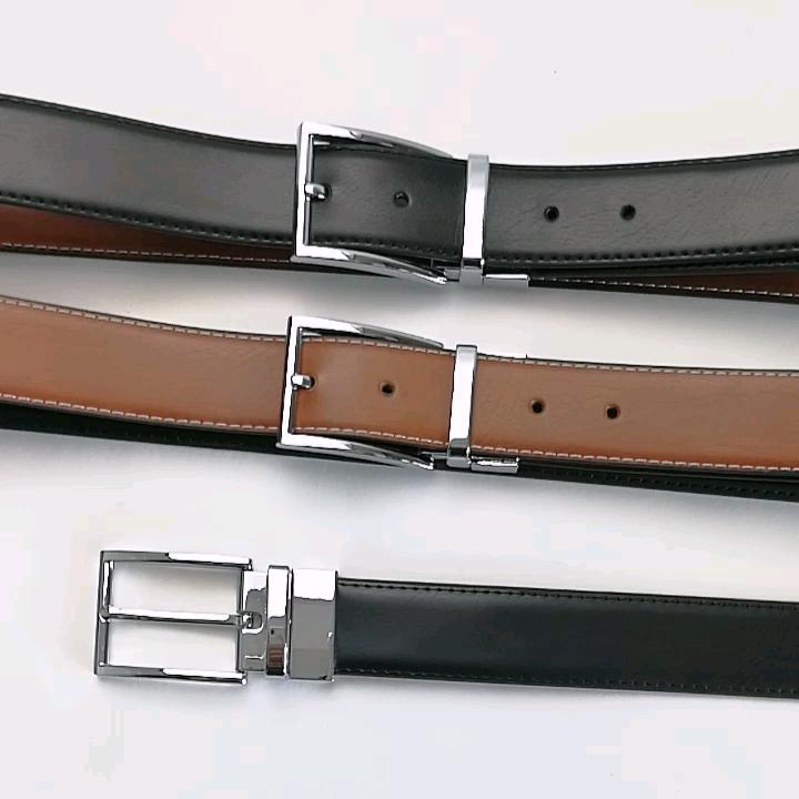 Hommes ceinture boucle réversible hommes classique robe formelle réversible ceinture en cuir noir marron deux côté utilisation ceinture