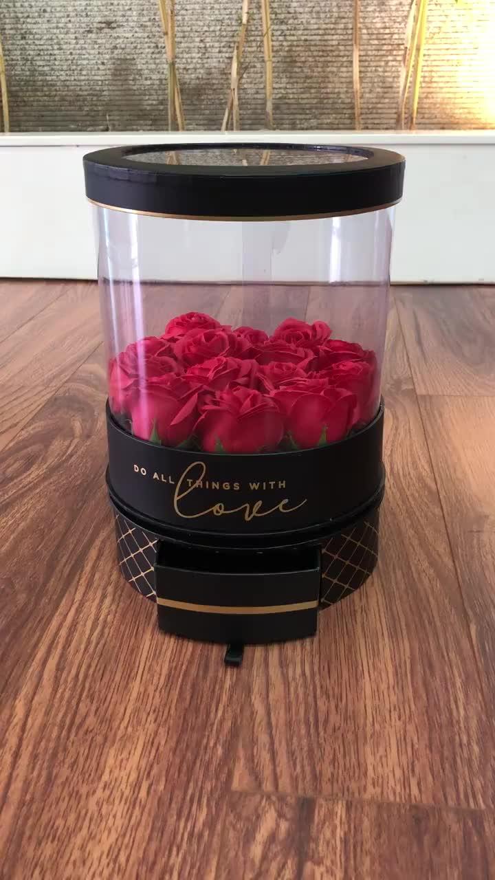 Nieuwe collectie PVC raam verwijderen ronde rose bloem papier doos voor valentijnsdag gift