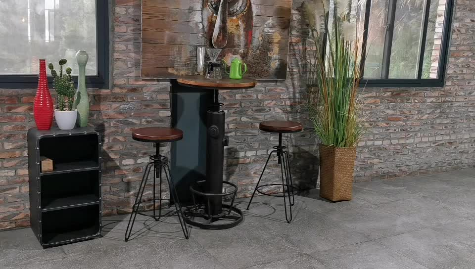 Factory hot sell rustic  metal wooden top bar  Stool