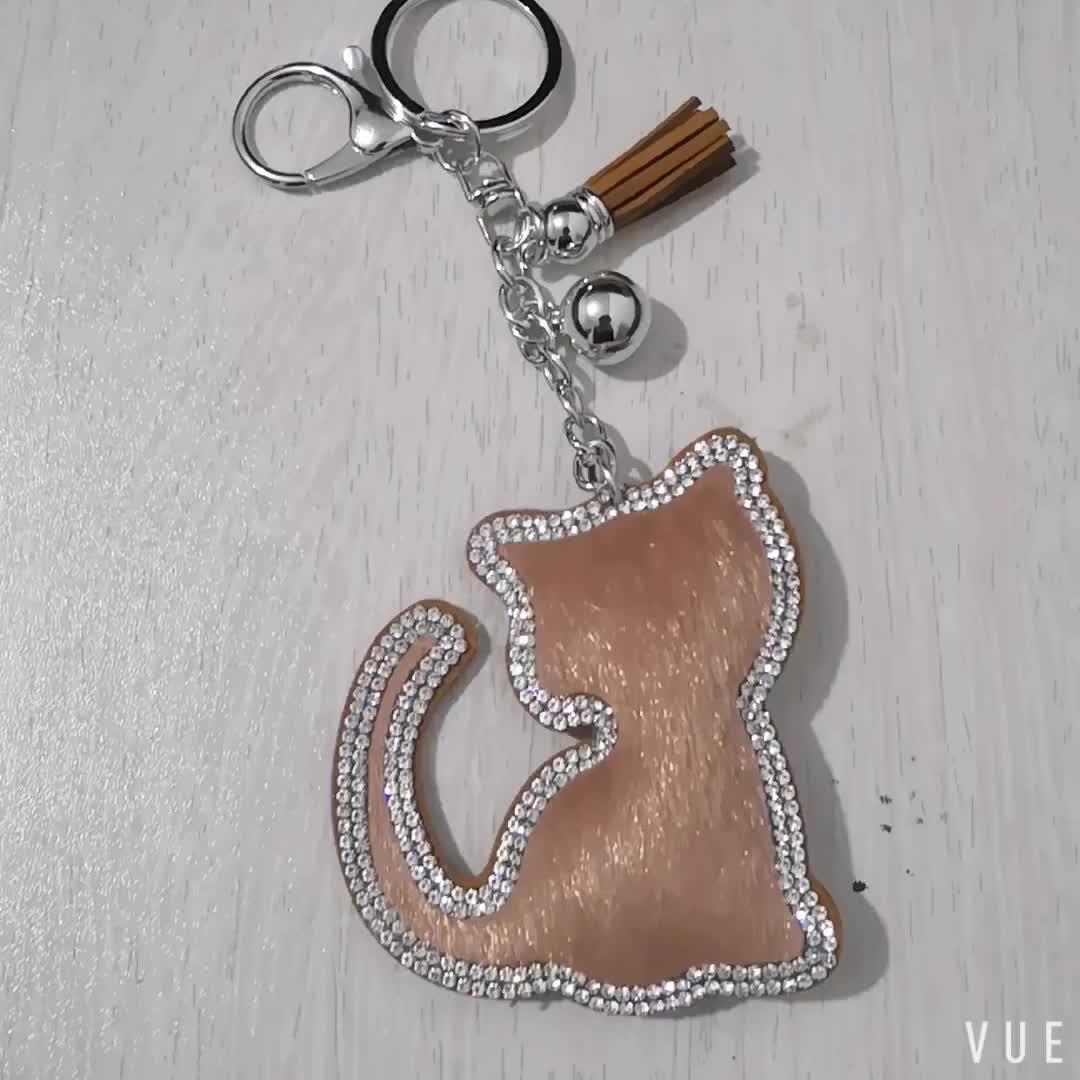 Bling Rhinestone Crystal Cat Tassel Pendant Keychain Car Bag Animal Key Chain