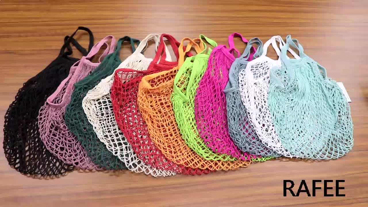 Cotton Reusable  Tote Grocery Mesh Net  String Beach Shopping Produce Bags