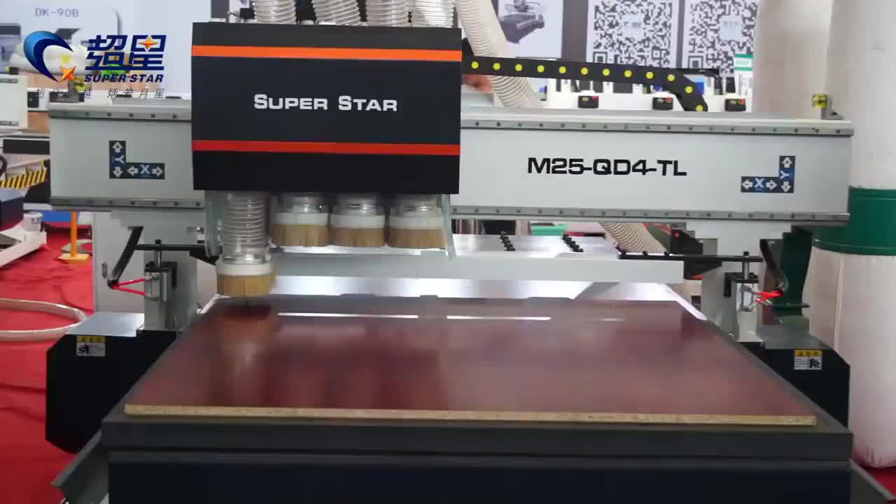 Jinan factory cnc router woodworking multi heads mdf panel cutting milling furniture cabinets making machine