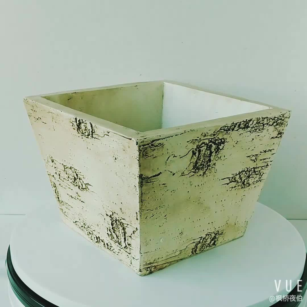 Wholesales Decorative Patio Garden Birch Bark Look Resin Flower Pot Planter Pot