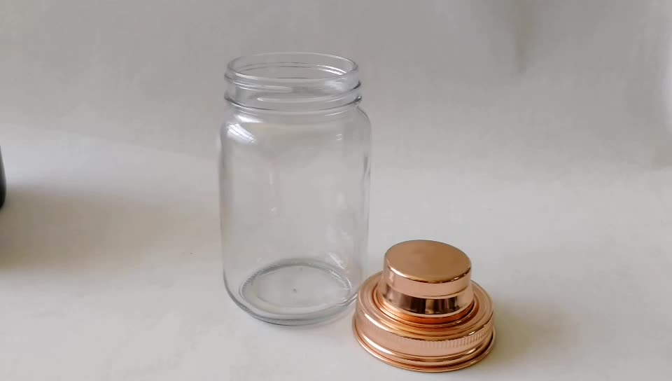 16oz/480ml Regular Mason Jar Glass Barware Gold Cocktail Shaker Lid