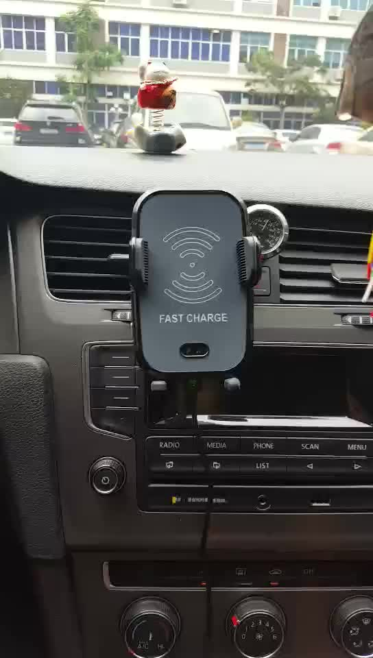 Amazon Best Seller Qi Fast Wireless Car Charger Mount Fast Charging Holder For Smartphone