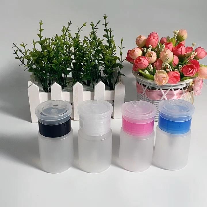 60ml Vazio Garrafas de Plástico Nail Polish Remover Álcool Líquido Imprensa Dispenser Bomba Garrafa Nail Art Gel UV Cleaner Acetona garrafa