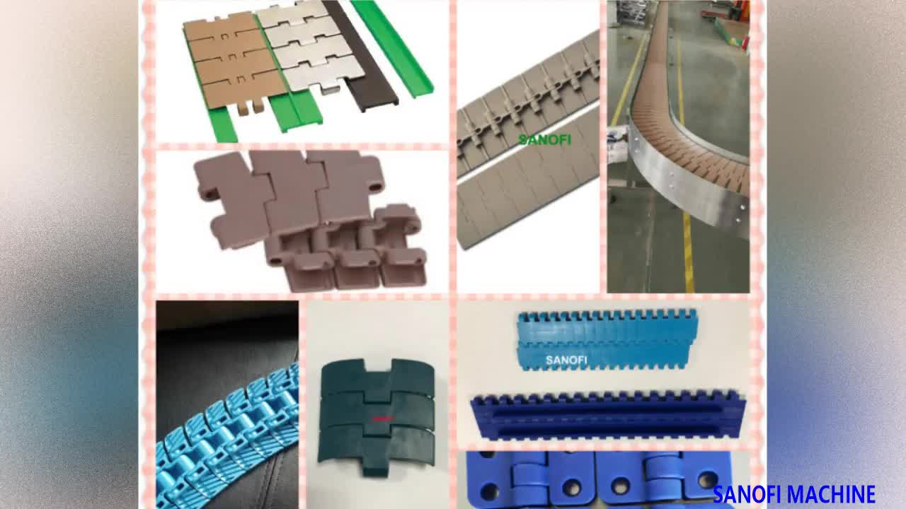 Plastic chain conveyor belt for sachet and bottle ,can, food container transferring