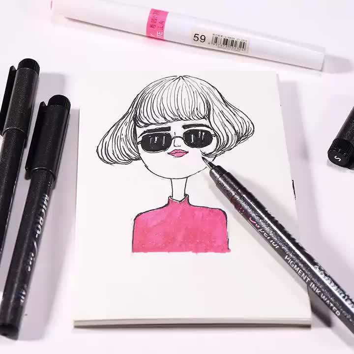 Superiore a prova di acqua fineliner inchiostro a pigmenti disegno a penna 20 suggerimenti formato giapponese punta in nylon AGO DELLA PENNA