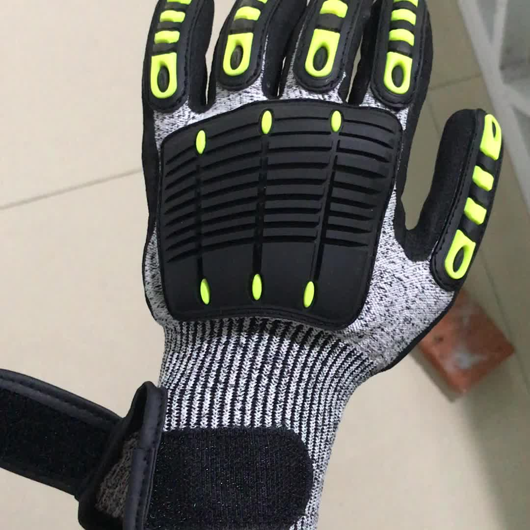 Shock proof mining safety mechanic glove anti impact for concrete works EN388