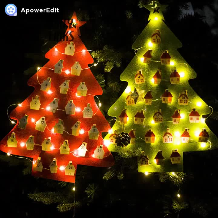Wall Hanging Felt Christmas Tree Advent Calender With Led Light
