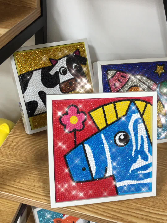 Kartun Unicorn Penuh Bor Diamond Gambar untuk Anak-anak 5D Diamond Lukisan Kit dengan Bingkai