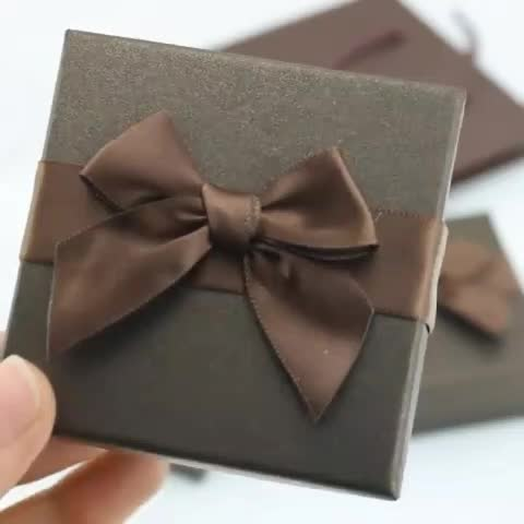 7.3*7.3*3.5 CM Brown Color Bow-knot Box Paper Boxes Earring Ring Necklace Bracelet Pendant Jewelry Set Box