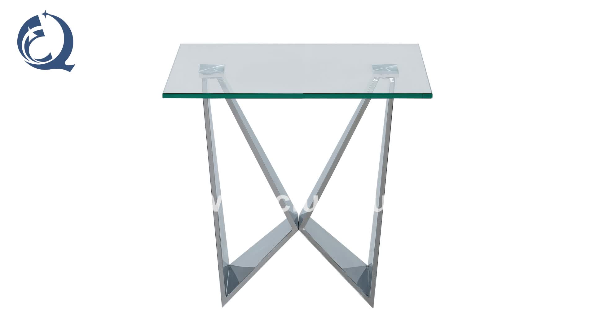 hot design clear glass stainless steel side table