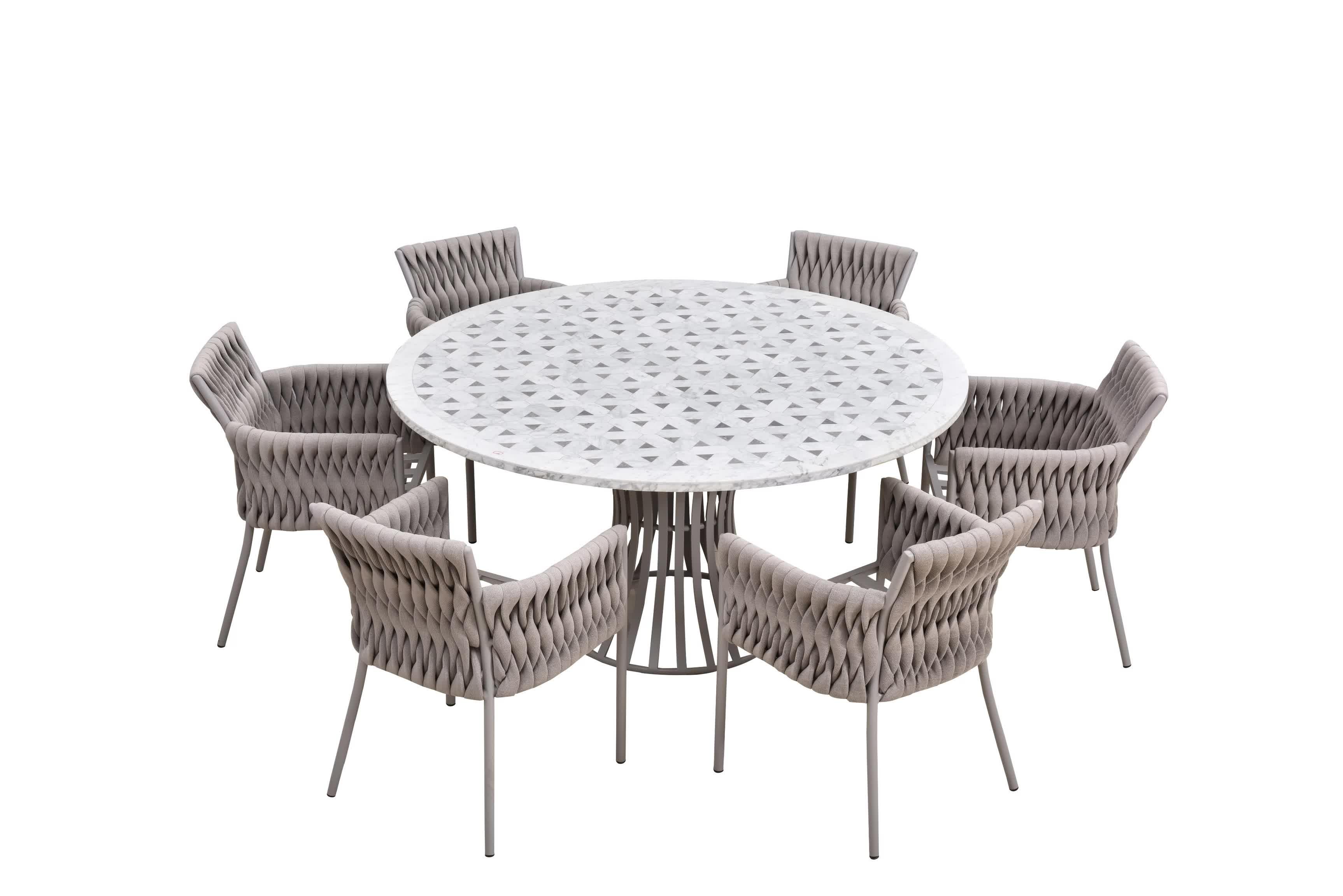 Muestra gratis de mimbre al aire libre muebles de mármol mesa de consola silla hamaca cuerda con alta calidad