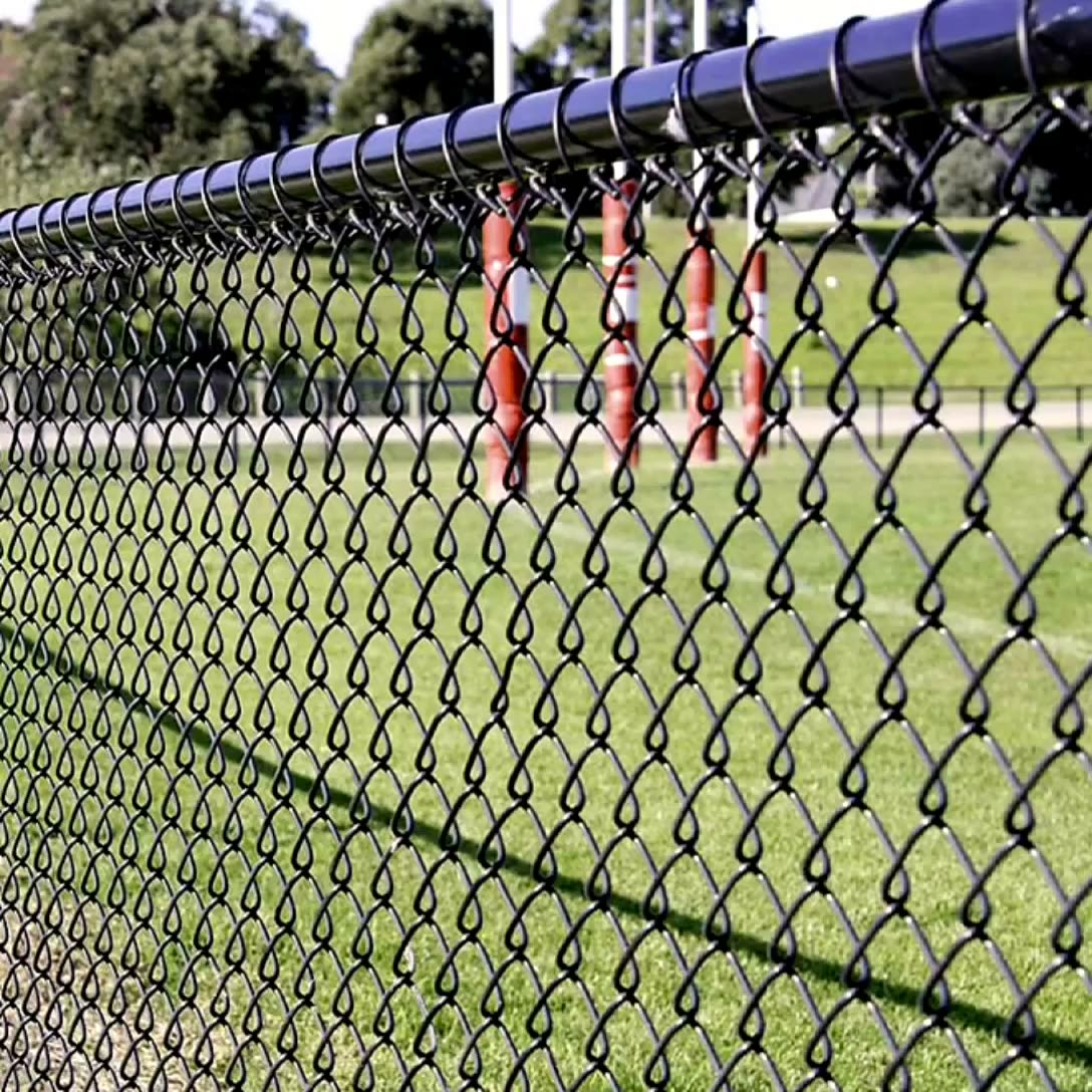 wholesale cheap polyester price 3mm cyclone fencing 50x50mm aperture chain link fence green lock galvanized