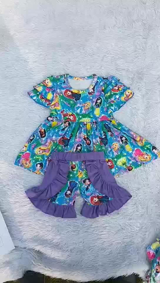 Children Girls Spring Boutique Outfits Long Sleeves Cotton Tops With  Ruffle Pants Girls Clothes Sets