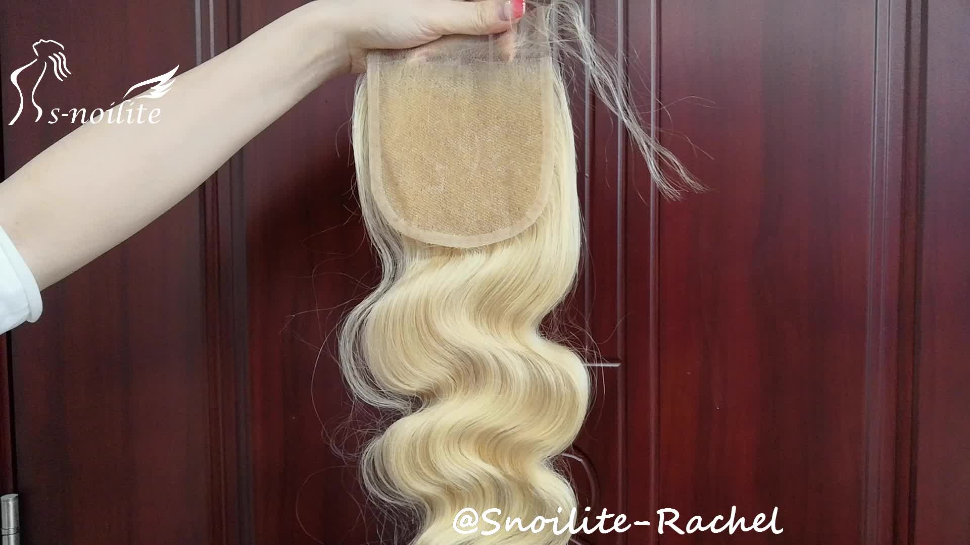 613 platinum  blonde human hair silky straight 4x4inch transparent lace closure