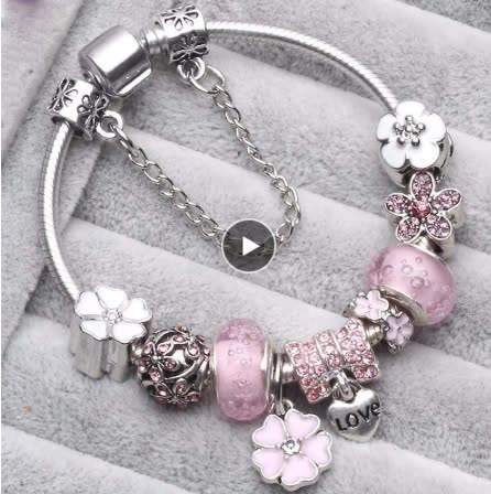 Vintage silver plating charms diy flower crystal bracelet custom jewelry hand accessories bangles lucky bracelet for women