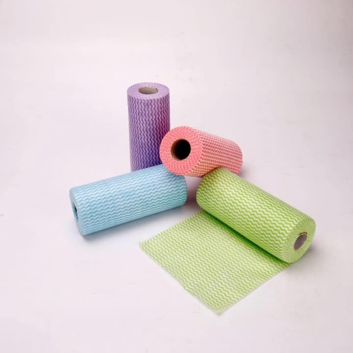 直供水刺无纺布  定制竹纤维百洁布 多种材质花型水刺布抹布卷