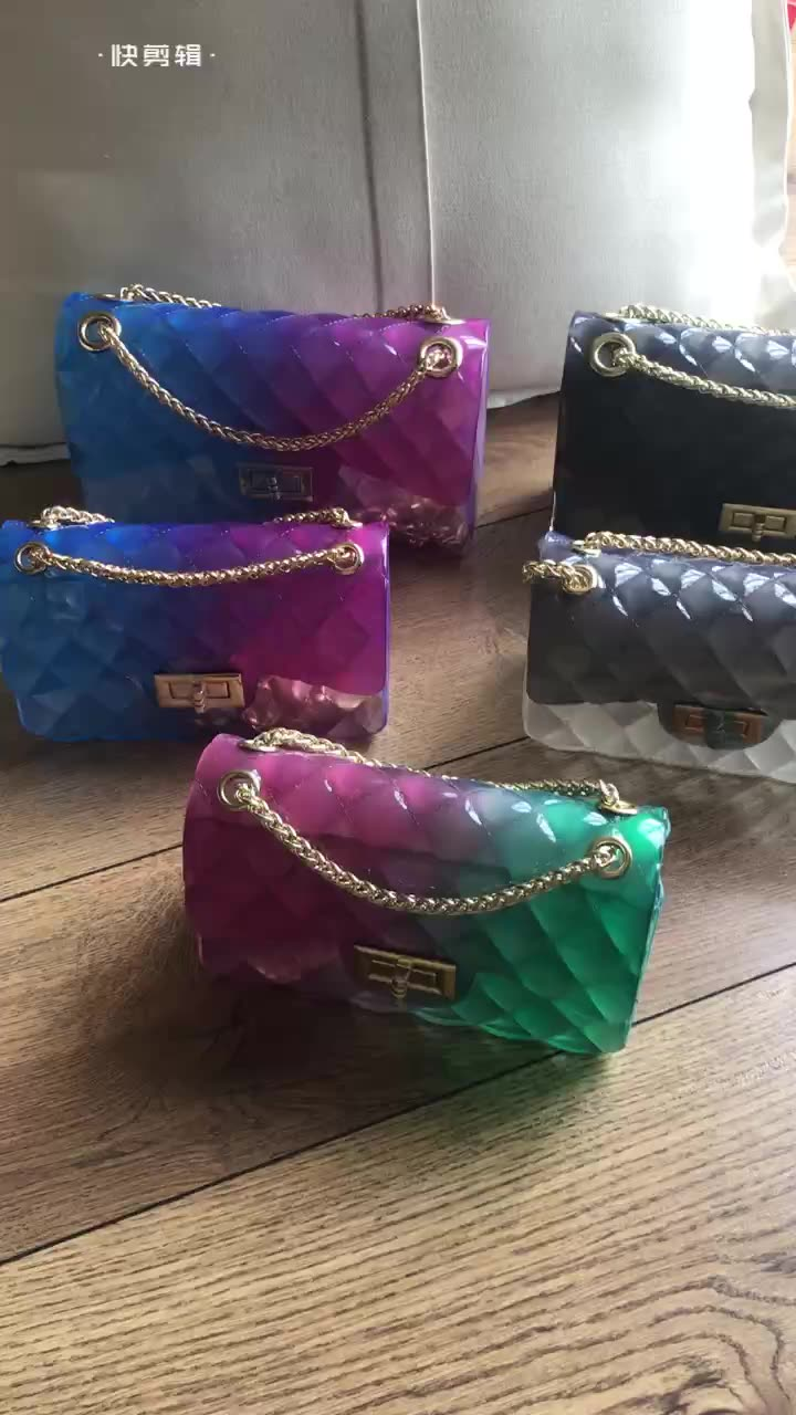 colorful jelly candy boston bag change bag for women New fashion colorful jelly shiny glitter purses