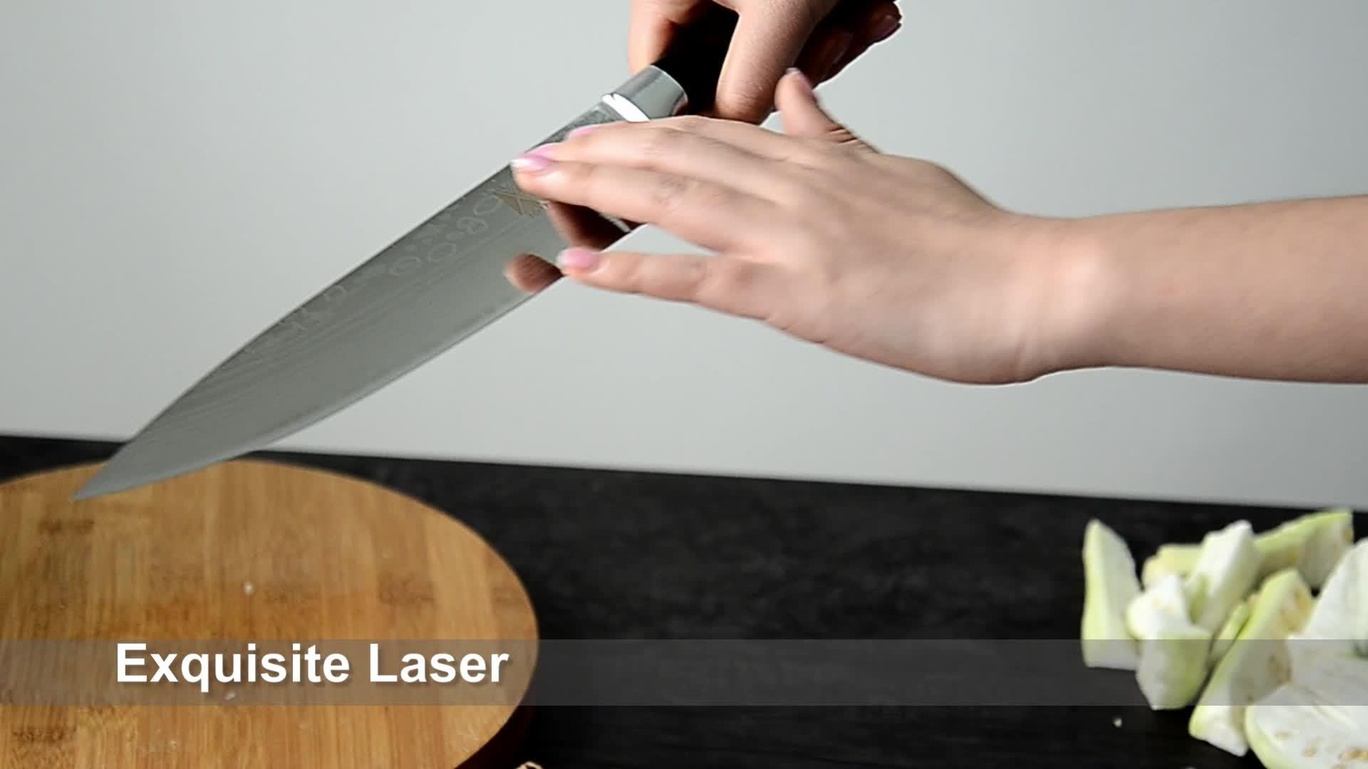 Dương giang laser Damascus veins phong cách Nhật Bản 7Cr17mov carbon thép không gỉ 7 inch cleaver dao nhà bếp với dao vỏ bọc
