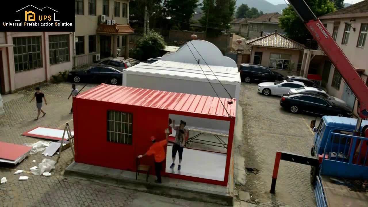 Heißer verkauf fertig container gebäude 20 ft 40 ft flach dach sandwich panel eingerichtet container haus mit wc-container