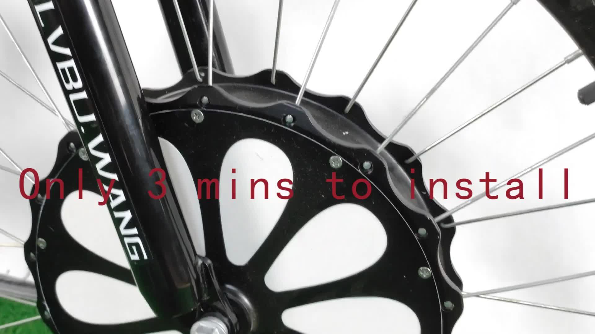 Tudo em uma roda bx30d 26in kit de conversão de bicicleta elétrica com bateria escondida motor de cubo dianteiro de bicicleta elétrica
