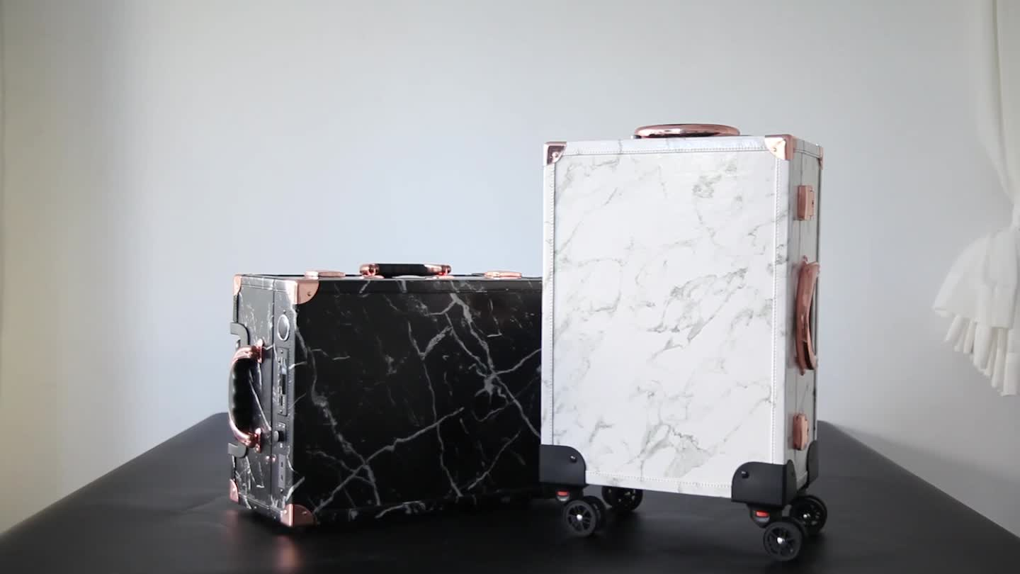 2019 Beautiful Marble Makeup Case with lights Vainty Trolley Slaycase Pro
