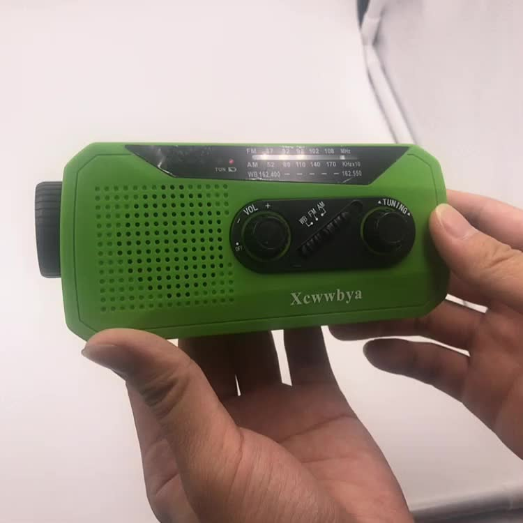 Emergency Solar Hand Crank Portable NOAA Weather Radio Outdoor with AM/FM LED Flashlight 2000mAh Power Bank USB Charger