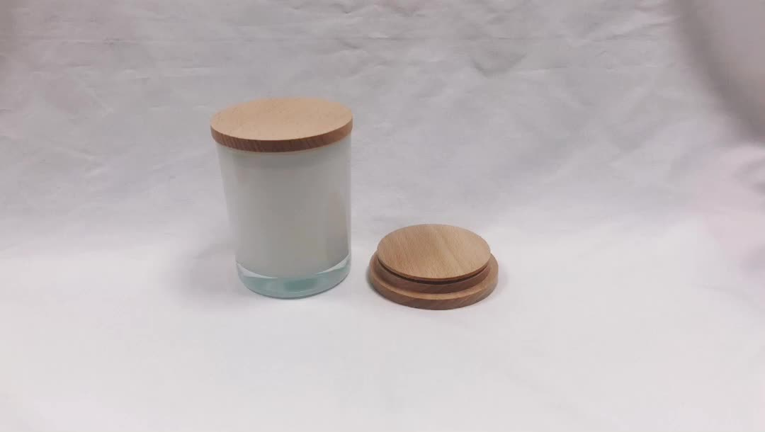 Low MOQ Popular square ceramic candle jar  glass with wooden lid