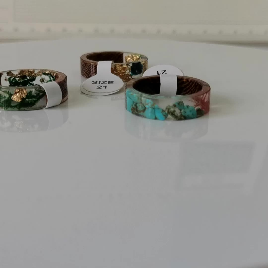In Stock Ship Fast Handmade New Various Design  wood resin ring diy dried flower Epoxy ring
