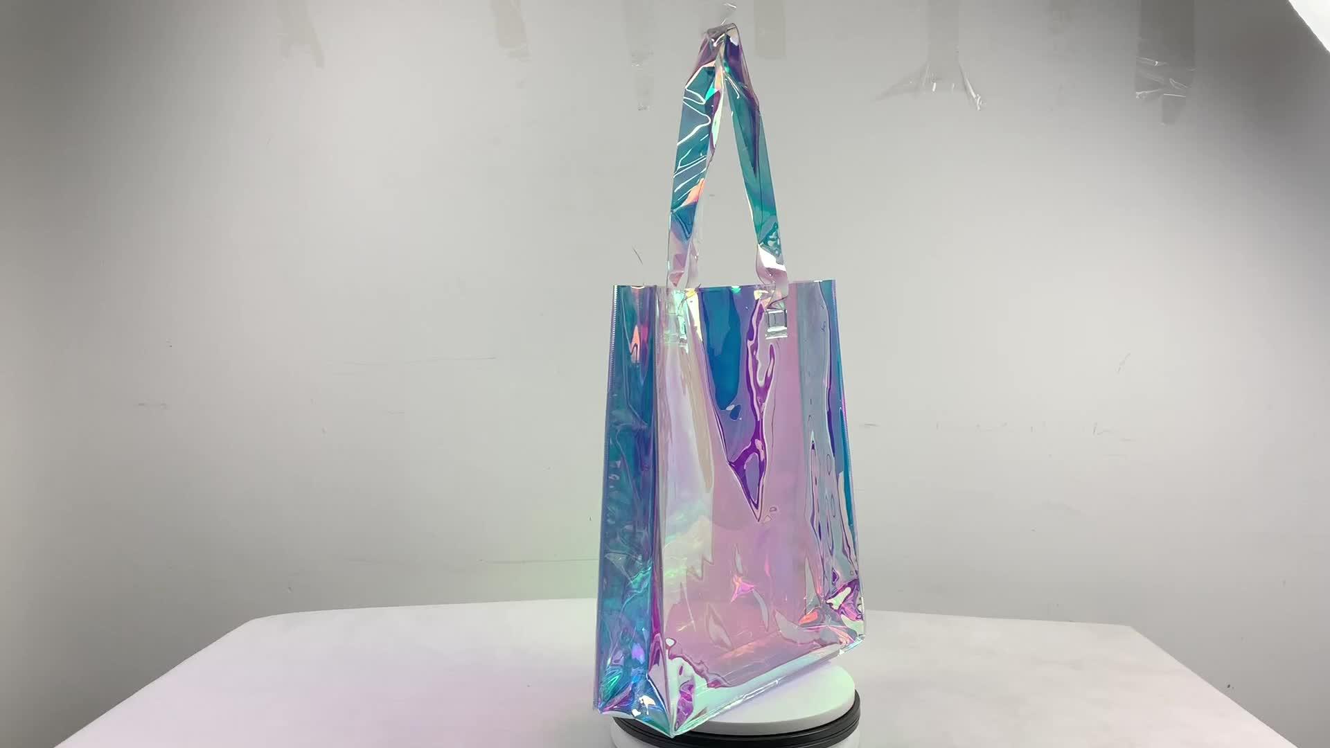 Moda Hologram pvc taşıma çantası şeffaf çanta holografik yanardöner alışveriş çantası